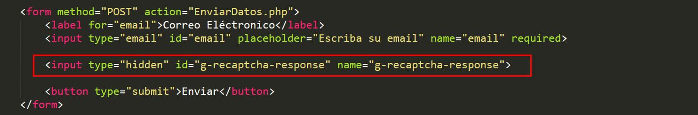Formulario de ejemplo con el input oculto que enviará el token
