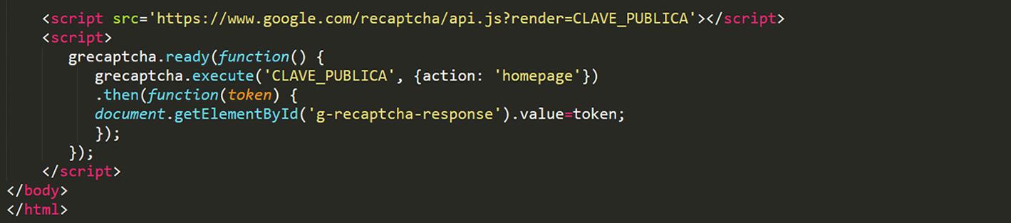Pegaremos este código en nuestro footer cambiando la CLAVE_PUBLICA